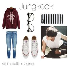"""Shopping with Jungkook"" by laylarawlings on Polyvore featuring J Brand, Kate Spade, Converse, women's clothing, women, female, woman, misses and juniors"