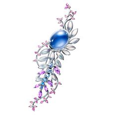 Tasaki, Wisteria Brooch, white Gold, Mabe pearl, coloured sapphire, Rainbow Moonstone