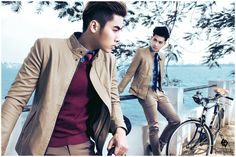 Double guy... For gentleman with colour shirt, camel leather and trousers. PhanNguyen Fashion's model