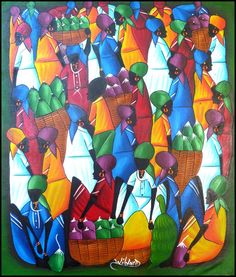 "Brightly Hand Painted Haitian Primitive Haitian Art - Market Scene  20"" x 24"" - $39.95 - To see more, visit us at www.HaitiGallery.com"