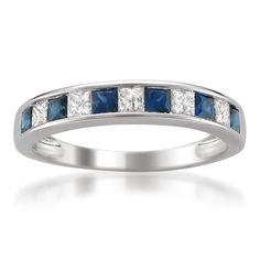 14k White Gold Princess-cut Diamond and Blue Sapphire Wedding Band Ring (5/8 cttw, H-I, I1-I2)