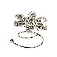 Haarschmuck Blume, Set 6 Curlies, Swarovski Strass für die Brautfrisur, versilbert, rhodiniert: Amazon.de: Schmuck