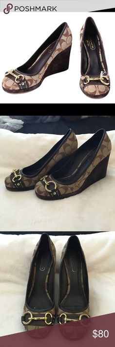 Coach wedges Excellent used condition. Very few sign of wear. Coach Shoes Wedges