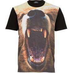 TOPMAN Black Bear Head Print T-Shirt ($12) ❤ liked on Polyvore featuring men's fashion, men's clothing, men's shirts, men's t-shirts, t-shirts, black, mens print shirts, mens polyester t shirts, mens polyester shirts and mens patterned t shirts