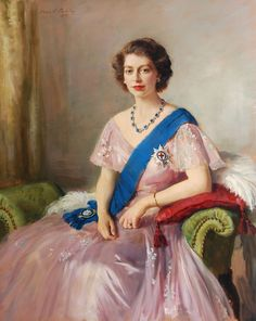 Sir Oswald Birley (1880-1952) — Portrait of HRH Princess Elizabeth, 1950  (1632×2048)