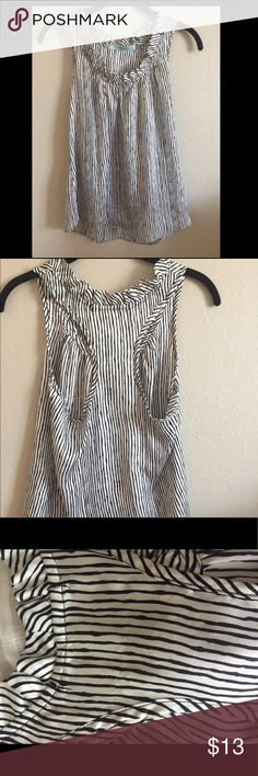 Karlie black and white striped short sleeve blouse Size medium, cute ruffle detail along neckline. Please see small pull on back of neck and small makeup mark on front ruffle Tops Tank Tops