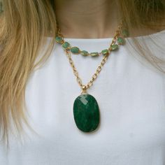 Whitten Necklace - Green Turquoise  Bridal discounts given for quantites of 4+