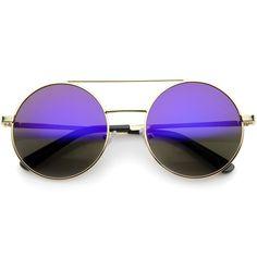 Lennon Full Metal Double Bridge iridescent Mirrored Lens Round Sunglasses