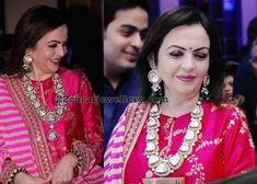 Nita Ambani wearing diamond polki long haram with pretty diamond earrings with emerald drops Choli Designs, Lehenga Designs, Kurta Designs, Indian Celebrities, Bollywood Celebrities, Long Diamond Earrings, Diamond Jewellery, Royal Indian Wedding, Nita Ambani