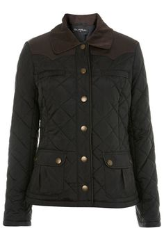 10 Casual-Cool Coats To Keep You Warm On The Weekends #refinery29  http://www.refinery29.com/outerwear#slide7  Miss Selfridge Black Quilted Jacket, $95, available at Miss Selfridge.