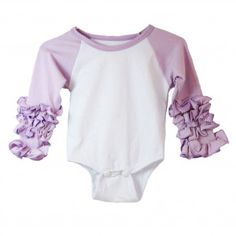 Baby Girls Lavender White Ruffle Cuff Crew Neck Long Sleeve Bodysuit 0-18M