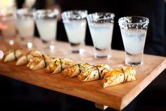 Appetizers: Mini Tacos and Margaritas Catering Food, Wedding Catering, Wedding Menu, Brewery Wedding, Catering Display, Wedding Ideas, Wedding Foods, Catering Services, Food Menu