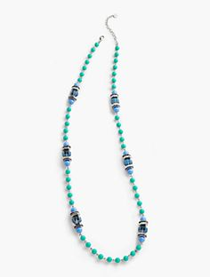 Long Bright Bead & Crystal Layer Necklace
