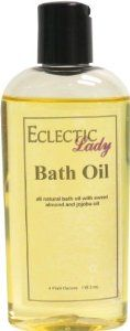 Lemon Verbena Bath Oil, 4 oz by Eclectic Lady. $7.99. Preservative Free. 4 Fluid Ounces. Dye Free. We use sweet almond oil, jojoba oil, and soybean oil as the base oils for our bath oils. Sweet almond oil and soybean oil are superb moisturizers. Jojoba oil is very similar to the oil your skin produces. Lemon Verbena is a fresh blend of lemon, verbena, and orange.