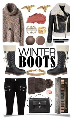 """""""Awesome Winter Boots"""" by ittie-kittie ❤ liked on Polyvore featuring Paige Denim, Burberry, Wild Diva, Balenciaga, Urban Decay, Christian Dior, Blue Nile, NARS Cosmetics, Essie and Alex Monroe"""
