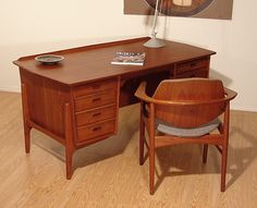 Svend Madsen Teak Desk w/Chair Danish Mid Century Modern Scandinavian Eames 60s (Sigh!)
