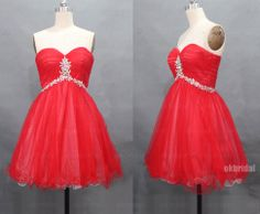 red prom dresses short prom dresses red cocktail dress by okbridal, $112.00 Short Red Prom Dresses, Grad Dresses, Cheap Prom Dresses, Homecoming Dresses, Strapless Dress Formal, Short Prom, Formal Dresses, Dresses Dresses, Wedding Dresses