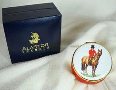$45 Enameled Trinket Box Foxhunter Equestrian Decor Horse with Rider