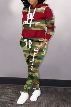 Camouflage Splicing Embroidered Letter Two Piece Sets – ForeverShe Sporty Outfits, Swag Outfits, Cute Outfits, Fashion Outfits, Army Outfits, Ladies Fashion, Fashion Ideas, Red Two Piece, Two Piece Pants Set