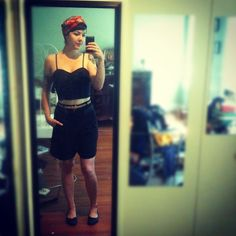 Shorts from Zachary's Smile, bustier from Macy's, thrifted shoes and head scarf.