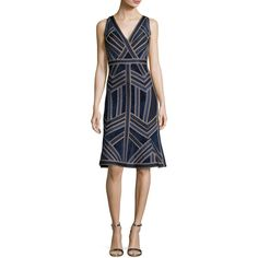 Herve Leger Sleeveless Deep-V Jacquard Flounce Dress ($2,570) ❤ liked on Polyvore featuring dresses, indigo combo, deep v neck cocktail dress, herve leger dress, frilly dresses, jacquard dress and ruffle hem dress