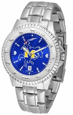 """McNeese State Cowboys NCAA Anochrome """"Competitor"""" Mens Watch (Steel Band) by SunTime. $86.95. Rotating Bezel. Color Coordinated. Calendar Date Function. Showcase the hottest design in watches today! The functional rotating bezel is color-coordinated to compliment your favorite team logo. The Competitor Steel utilizes an attractive and secure stainless steel band. The AnoChrome dial option increases the visual impact of any watch with a stunning radial reflection similar to tha..."""