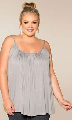 Plus Size Pretty Cami Plus Size Fashion Plus Size Clothing at www.curvaliciousclothes.com #plussize #bbw #fashion This is THE ultimate camisole created on demand from our staff who wanted an easy-to-wear layering camisole that wasn't skin tight! Your essential camisole with tummy-concealing style!