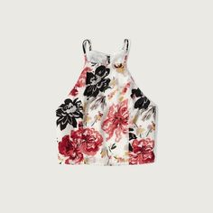 Abercrombie & Fitch Patterned Slim Crop Top ($38) ❤ liked on Polyvore featuring tops, cream floral, strappy top, spaghetti-strap top, floral crop top, print tops and cream top
