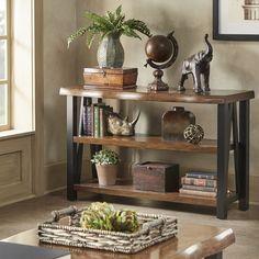 Banyan Live Edge Wood and Metal Console Sofa Table Bookshelf by SIGNAL HILLS