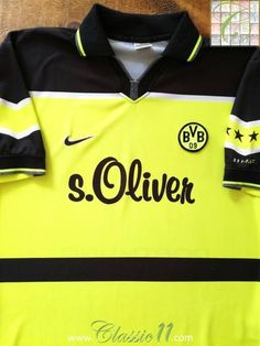 Official Nike Borussia Dortmund home football shirt from the season. Football Kits, Football Jerseys, Uefa Champions League, Goalkeeper, Shirts, Tees, Two By Two, How To Memorize Things, Borussia Dortmund