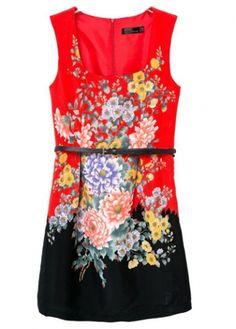 Enchanting Flower Print Square Neck Mini Tank Dress