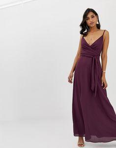 b1096305242 ASOS DESIGN cami wrap maxi dress with tie waist Purple Maxi