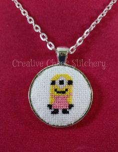 Cross Stitch Necklace - Cartoon Movie - Minion Female by chaoticstitchery on Etsy https://www.etsy.com/listing/224375582/cross-stitch-necklace-cartoon-movie