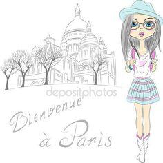 Descargar - Vector chica hermosa moda en París — Ilustración de Stock #39321861
