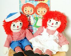 1970's Raggedy Ann and Andy cloth dolls.