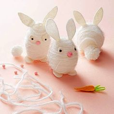 Yarn Bunnies Are an Easy Last Minute Easter Craft - Check It Out!