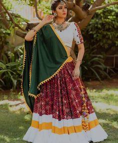 maroon patola print lehenga choli with white ruffled hem for navratri Call/WhatsApp for Purchase Inqury : Choli Blouse Design, Choli Designs, Kurta Designs, Saree Blouse Designs, Garba Dress, Navratri Dress, Choli Dress, Garba Dance, Designer Lehnga Choli
