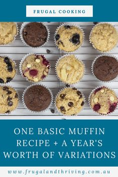 1 Basic Muffin Recipe + 52 Variations for each week of the year You don't need dozens of muffin recipes. Here is a basic muffin recipe with over 50 variations to try. One for every week of the year! One Muffin Recipe, Simple Muffin Recipe, Health Muffin Recipes, Health Desserts, Basic Muffin Recipes, Baking Recipes, Cookie Recipes, Dessert Recipes, Picnic Recipes