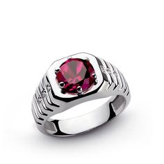 Mens Ring NATURAL DIAMONDS and Red RUBY in SOLID 925 Sterling Silver size 9.75 #Handmade #Statement