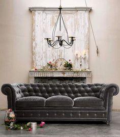 Gray velvet couch, vintage feel.