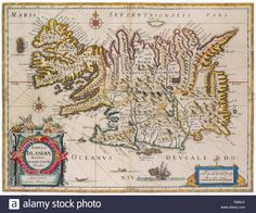 Antique Map of Iceland by Blaeu, Old Maps, Antique Maps, Vintage Wall Art, Vintage Walls, Chicago Map, Fun World, Reproduction, Sea Monsters, Old Antiques