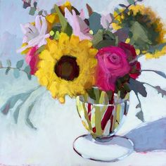 "_ Melanie Morris ""This Grace"", 24"" x 24"", Acrylic on gallery wrapped panel ©2016 #melaniemorrisart #florals #sunflowers #dsfloral #dscolor #dslooking #grace #originalart"