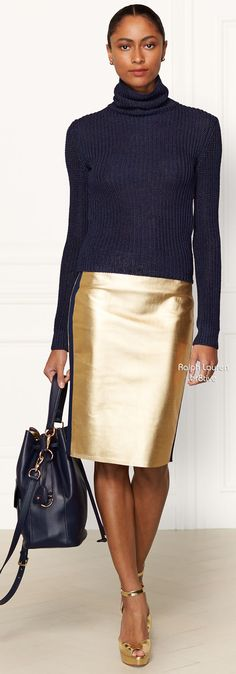 Ralph Lauren Metallic Leather Eva Skirt