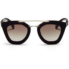 Prada Inset leather rim tortoiseshell acetate sunglasses ($530) ❤ liked on Polyvore featuring accessories, eyewear, sunglasses, glasses, óculos, black, tortoise shell sunglasses, tortoise shell glasses, prada glasses and acetate sunglasses