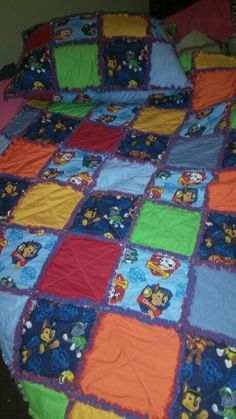 Paw patrol rag quilt with matching pillow for my sweet grandson.