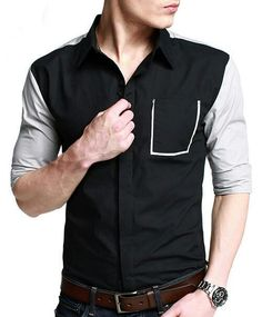 Black & White Casual Shirt with Stylish Pocket
