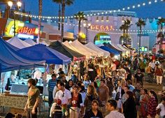 Enjoy live entertainment, a children's area, and a tempting selection of hot foods at the Oceanside Sunset Market Street Fair! Thursday evenings from pm to pm at the corner of Coast Hwy and Pier View Way. Oceanside Beach, Oceanside California, Places In California, California Dreamin', Camp Pendleton, San Diego Travel, San Diego Living, Beach Fun, Places To Go