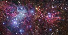 The Christmas Tree Cluster, Fox Fur Nebula and Cone Nebula- NGC 2264- six panel mosaic