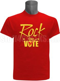 "Red screen printed ""Rock The Vote"" election t-shirt. $35.00"