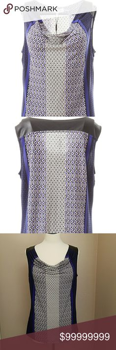 """😎CALVIN KLEIN😎FAUX LEATHER TRIM TOP For work or weekend, capture that competitive edge with your streamlined style & this brilliant design! This sleeveless top is fabricated from stretch jersey in a figure-flattering silhouette.🖤  With an eye-catching print of bluish-purple, black, tan & white throughout, a chic cowl neckline & soft, elegant drape.  Its bra-friendly, faux leather shoulders highlight this sexy sleeveless design.😍  Total Length 25""""/Bust 19""""...95% polyester 5% spandex…"""